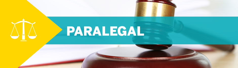 """A photo of a gavel with text overlayed: """"Paralegal"""""""