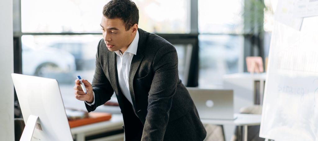 Businessman delivers virtual presentation